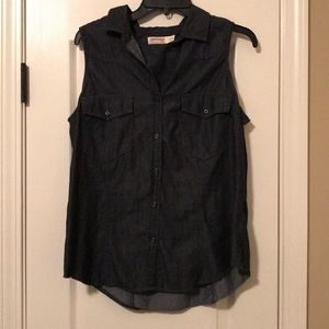 Denim sleeveless top size L (12/14)